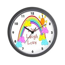 Kids Live, Laugh, Love Rainbow Clocks Wall Clock