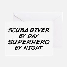 Scuba Diver Superehero by Night Greeting Cards (Pk