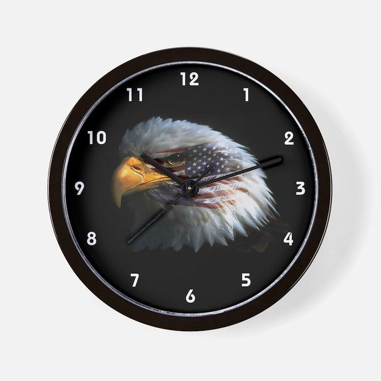 Bald Eagle USA American Flag Clocks Wall Clock