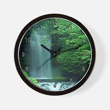 Lush Green Waterfall Clocks Wall Clock