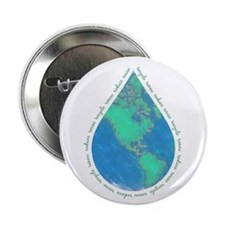 """Water Drop Earth 2.25"""" Button"""