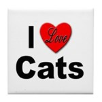 I Love Cats for Cat Lovers Tile Coaster