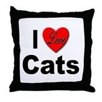 I Love Cats for Cat Lovers Throw Pillow
