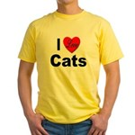 I Love Cats for Cat Lovers Yellow T-Shirt