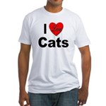 I Love Cats for Cat Lovers (Front) Fitted T-Shirt