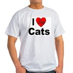 I Love Cats for Cat Lovers (Front) Ash Grey T-Shir