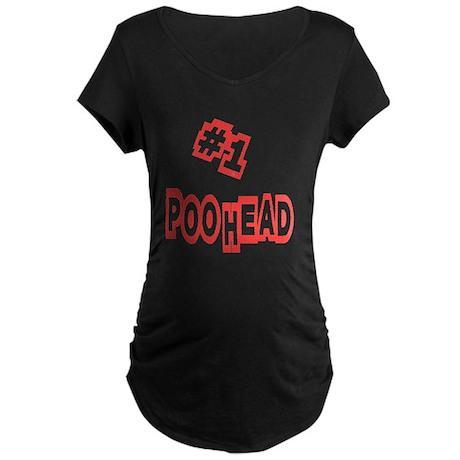 #1 Poo Head Maternity Dark T-Shirt