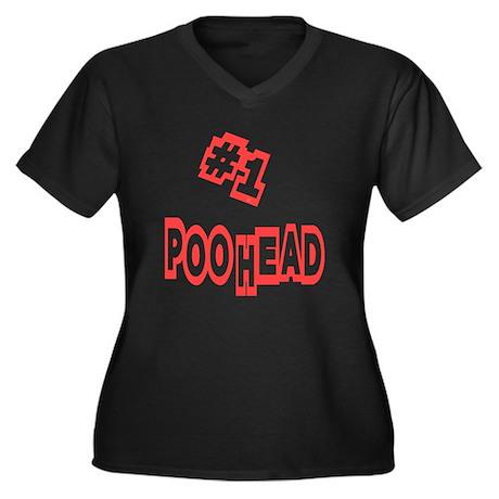 #1 Poo Head Women's Plus Size V-Neck Dark T-Shirt