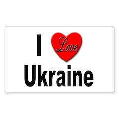 I Love Ukraine Rectangle Decal