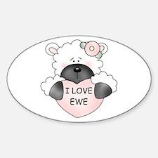 I LOVE EWE Oval Decal