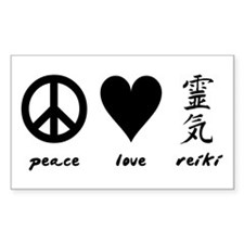 Peace, Love & Reiki Rectangle Decal
