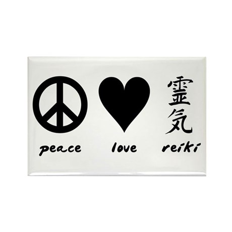 Peace, Love & Reiki Rectangle Magnet