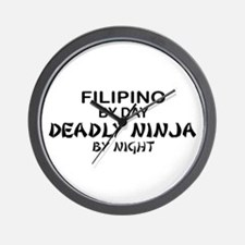 Filipino Deadly Ninja by Night Wall Clock