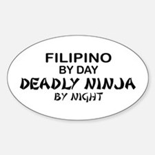 Filipino Deadly Ninja by Night Oval Decal