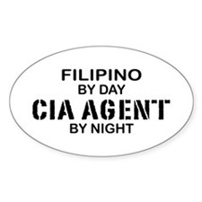 Filipino CIA Agent by Night Oval Decal