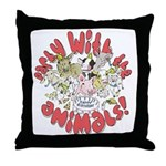 PARTY WITH THE ANIMALS Throw Pillow