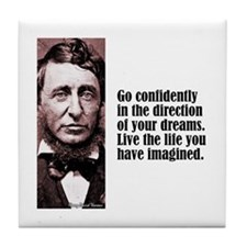 "Thoreau ""Go Confidently"" Tile Coaster"