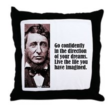 "Thoreau ""Go Confidently"" Throw Pillow"