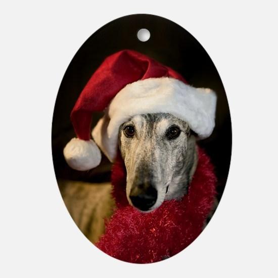 Oval Ornament Brindle Santa Greyhound
