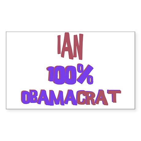 Ian - 100% Obamacrat Rectangle Sticker
