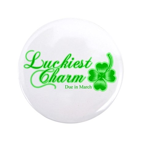 """Lime Luckiest Charm Due In March 3.5"""" Button"""
