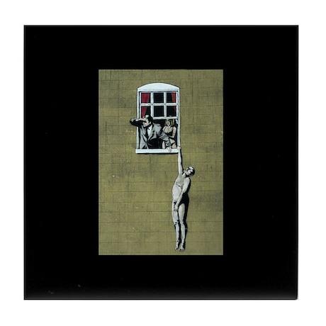 Banksy graffiti art Tile Coaster