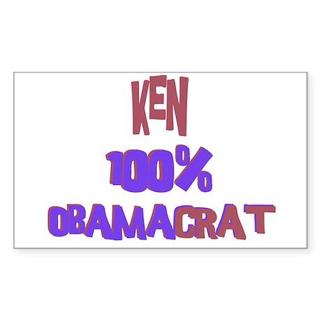 Ken - 100% Obamacrat Rectangle Sticker
