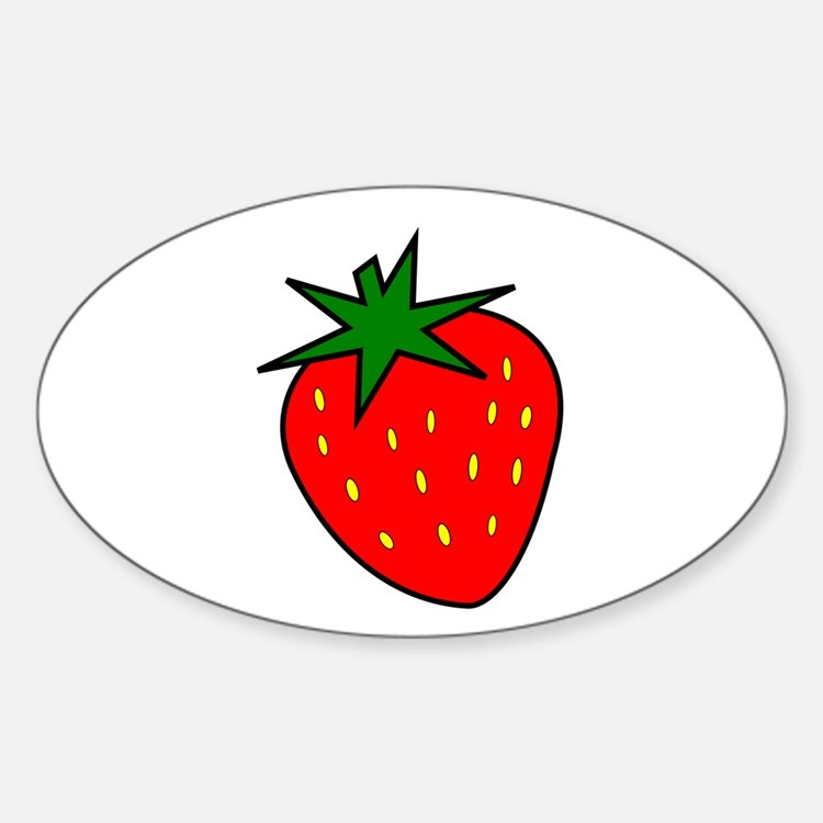 Cute Strawberry Oval Decal