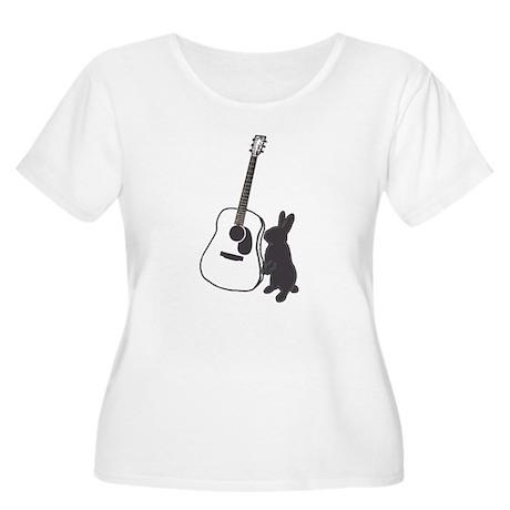 bunny & guitar Women's Plus Size Scoop Neck T-Shir