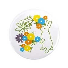 "flower bunny 3.5"" Button"