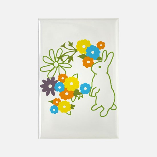 flower bunny Rectangle Magnet
