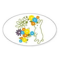 flower bunny Oval Decal