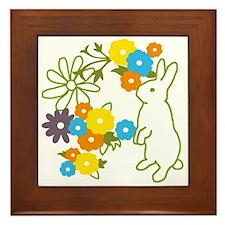 flower bunny Framed Tile