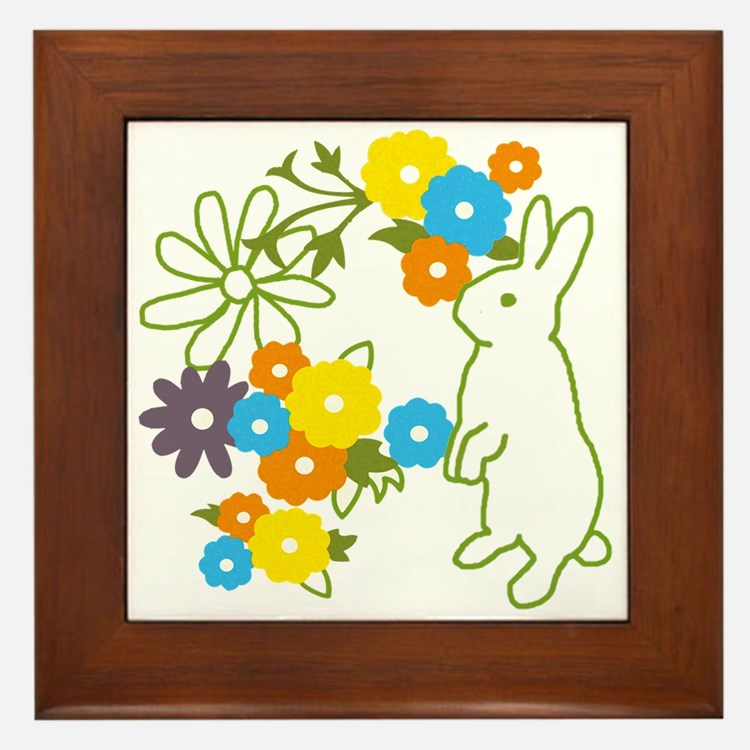 flower bunny Framed Tile