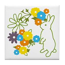 flower bunny Tile Coaster