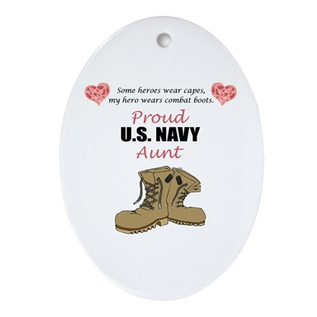 Proud US Navy Aunt Oval Ornament