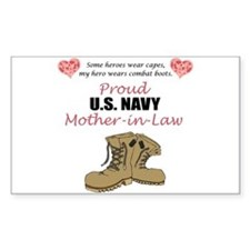 Proud US Navy Mother-in-Law Rectangle Decal