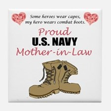 Proud US Navy Mother-in-Law Tile Coaster
