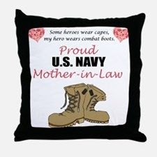 Proud US Navy Mother-in-Law Throw Pillow