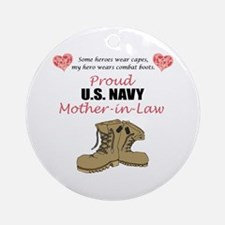 Proud US Navy Mother-in-Law Ornament (Round)
