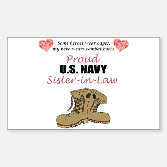 Proud US Navy Sister-in-Law Rectangle Decal