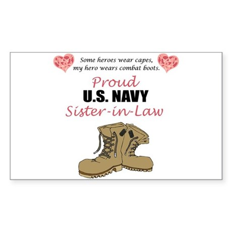 Proud US Navy Sister-in-Law Rectangle Sticker