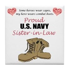 Proud US Navy Sister-in-Law Tile Coaster