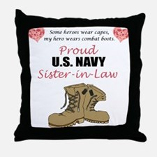 Proud US Navy Sister-in-Law Throw Pillow