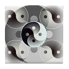Four Yin and Yangs Tile Coaster