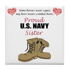 Proud US Navy Sister Tile Coaster