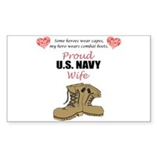 Proud US Navy Wife Rectangle Decal