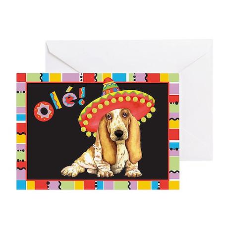 Fiesta Basset Greeting Card