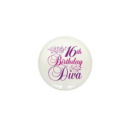 16th Birthday Diva Mini Button (10 pack)