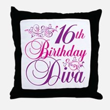 16th Birthday Diva Throw Pillow